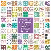 Different retro seamless patterns in color - vector set