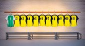Row of Football Yellow and Green Shirts 1-11