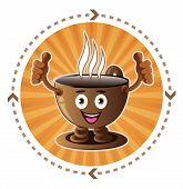 Cartoon smiling coffee cup icon