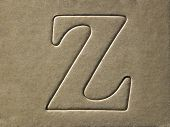 die cut alphabet z on the brown card board