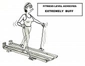 stock photo of buff  - Cartoon of a woman exercising on a cross country ski machine and her fitness level is extremely buff - JPG
