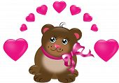 Cute Brown Bear With Hearts