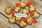 Thank you card with heart shaped cookies