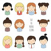 Set of colorful female faces icons.