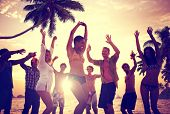 pic of summer beach  - People Celebration Beach Party Summer Holiday Vacation Concept - JPG