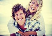 picture of bonding  - Couple Beach Bonding Getaway Romance Holiday Concept - JPG