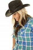 Cowgirl Blue Shirt Smile Look Down Close