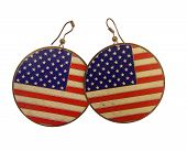 earrings with American flag with scratches effect