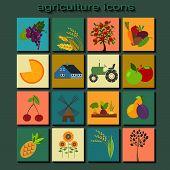 Set agriculture, animal husbandry icons.