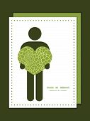 Vector abstract green natural texture man in love silhouette frame pattern invitation greeting card