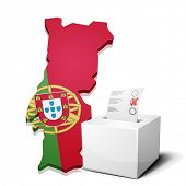 detailed illustration of a ballotbox in front of a map of Portugal, eps10 vector