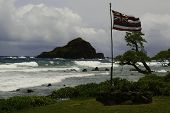Постер, плакат: Old Hawaii Flag On Stromy Day