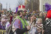 Costumed Crowd At Mardi Gras