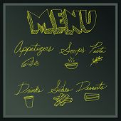 An image of a menu board with list of items.