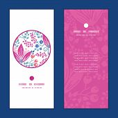 Vector pink flowers vertical round frame pattern invitation greeting cards set
