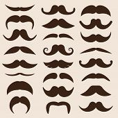 set of vector moustaches in retro style