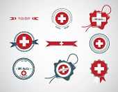 Made in Switzerland - set of seals, badges.