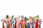 stock photo of diversity  - Hands Flag Symbol Diverse Diversity Ethnic Ethnicity Unity Concept - JPG