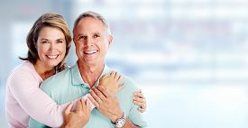 pic of grandma  - Happy senior loving couple over blue background - JPG