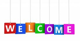 pic of colorful banner  - Welcoming and greetings concept with welcome word and sign on colorful hanged tags isolated on white background - JPG