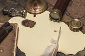 foto of treasure map  - A blank pirate treasure map with pirate utensils - JPG