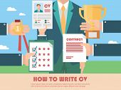 foto of recruiting  - Job recruitment concept with business cv resume - JPG