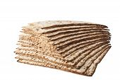 foto of matzah  - Matzot for pesach isolated on white background - JPG