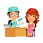 pic of prescription  - Lady Doctor Giving a Prescription to Her Female Patient - JPG