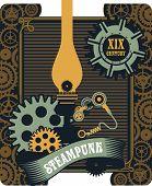 picture of steampunk  - illustration Steampunk kerosene lamp to illuminate the mechanism gear and parts - JPG