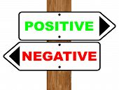 image of positive negative  - Positive and Negative signs fixed to a wooden pole over a white background - JPG
