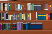 stock photo of generic  - Three rows of generic books on shelf illustration - JPG