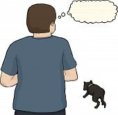 picture of stray dog  - Isolated worried man looking at stray dog - JPG