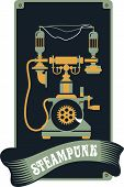 foto of steampunk  - Illustration in the style of steampunk retro phone with the mechanisms and lamps - JPG