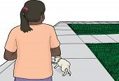picture of ponytail  - Woman with ponytail walking white dog on sidewalk - JPG