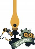 picture of steampunk  - illustration Steampunk kerosene lamp to illuminate the mechanism gear and parts on a white background - JPG