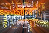 stock photo of sanitation  - Background concept wordcloud illustration of sanitation glowing light - JPG