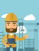 foto of construction crane  - A construction worker standing with crane tower background - JPG
