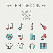 image of g clef  - Music and entertainment thin line icon set for web and mobile - JPG