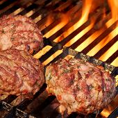 picture of bbq party  - Minced Beef Pork Mutton Burgers On The Hot BBQ Grill Background Closeup - JPG