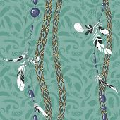 picture of dreamcatcher  - Dreamcatcher feathers seamless pattern - JPG