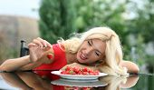 image of strawberry blonde  - Blonde beautiful girl laughing eating and playing with fresh strawberry - JPG