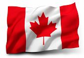 foto of waving  - Waving flag of Canada isolated on white background - JPG