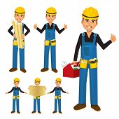 foto of handyman  - cartoon illustration of a smiling construction worker or handyman with toolbox - JPG