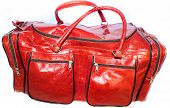 foto of hasp  - beautiful leather handbag sports bright red on a white background very big - JPG
