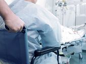 pic of icu  - Patient in wheelchair in the ICU ward at hospital - JPG