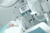 picture of ward  - Patient receiving mechanical ventilation in a hospital ward - JPG
