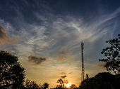 image of mast  - Telecommunications mast at dawn stock photo thailand - JPG