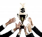 stock photo of money prize  - hands reaching for trophy and money bag isolated on a white background - JPG