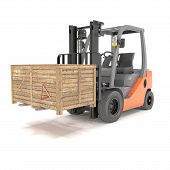 picture of forklift  - 3d rendering of a forklift with wooden box over white background - JPG