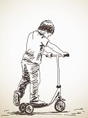 image of scooter  - Sketch of Child with kick scooter - JPG